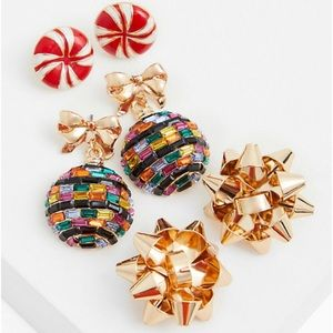 🆕Gold-Tone & Green Holiday Ornament Earrings Set